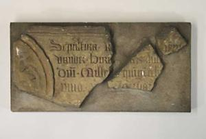Stone tablet of a memorial piece of Jan van der Borch (fragment(s))