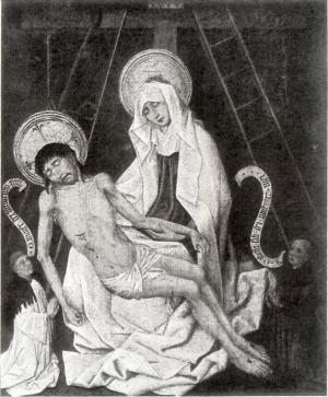 Pietà with devotional portraits of a man and a male member of a convent