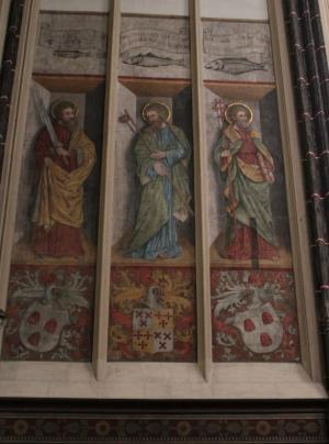 Left wall: SS Simon, James the Greater and Philip with coats of arms and memorial texts