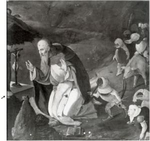 Temptation of St Anthony with the hands of a devotional portrait