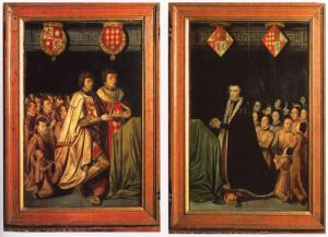 Devotional portraits of Elisabeth van Culemborg, Jan van Luxemburg and Antonie van Lalaing (interior left and right wing of predella)