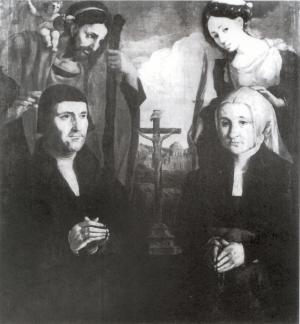 Crucifixion with devotional portraits of a man and a woman