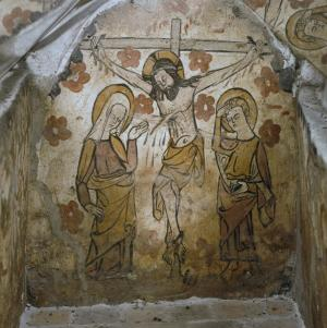 Painted burial cist of unknown person(s): Crucifixion