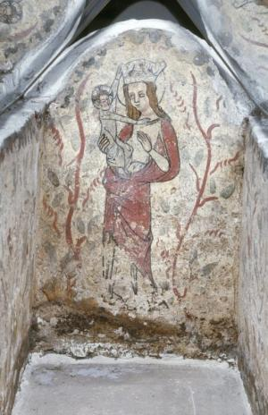 Painted burial cist of unknown person(s): Virgin and Child