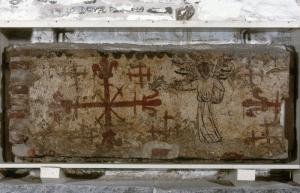 Painted burial cist of unknown person(s): lateral wall with censing angel and cross