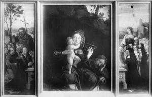 Rest on the Flight into Egypt with devotional portraits of the Stoop-Van Roon family