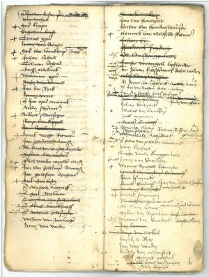 Memorial register of the confraternity of St Christopher (ff. 5v-6r: List of members)