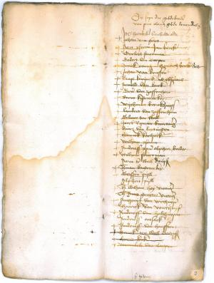 Memorial register of the confraternity of St Olaf (ff. 8v-9r: membership list)
