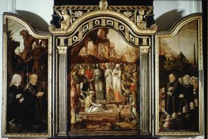 Raising of Lazarus with devotional portraits of the Boot family