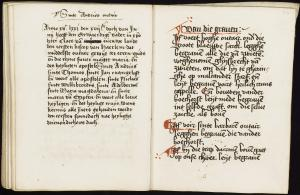 Costerinne boeck of the Mariënpoel Monastery in Oegstgeest (ff. 23v-24r): notes about the consecration of St Andrew''s altar and list of graves