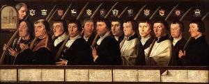 Twelve members of the Haarlem Confraternity of Jerusalem Pilgrims