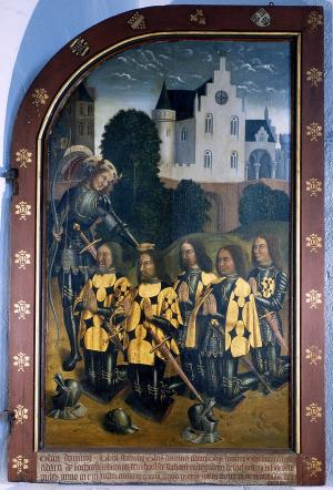 Devotional portraits of five knights (interior right wing)