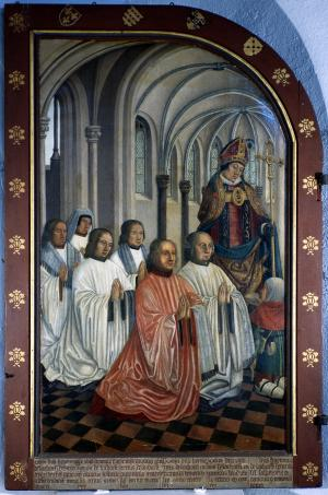 Devotional portraits of six members of the clergy (interior left wing)