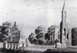 Ruins of the monastery of Dickninge. Drawing from 1732 by Cornelis Pronk.