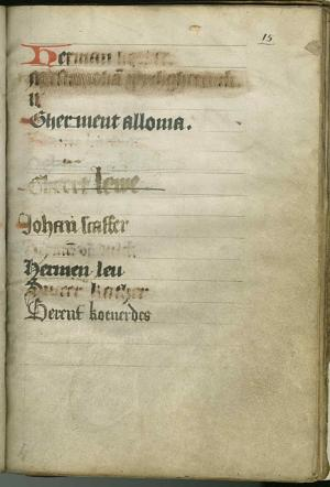 Register of the Kalende Confraternity, f.15r: list of male lay members