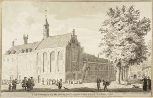 Haarlem, Holy Ghost's Orphanage (drawing by Cornelis van Noorde before its demolition in 1768)