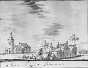 Amby, village with chapel (drawing of 1632)
