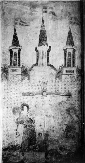 Crucifixion with devotional portraits of two unknown persons