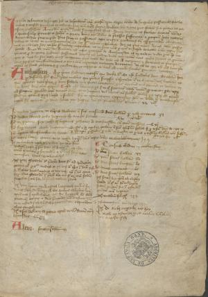 Cartulary of the Monastery Mariëndonk (f.1r)