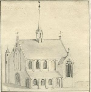 Chapel of St Mary at the Court, The Hague (drawing by Albertus Frese, 1777)