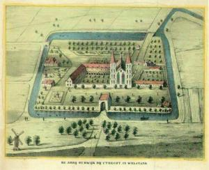 Utrecht, Oudwijk Abbey (print of ca.1839, after a map of 1572)