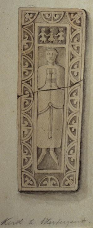 Sarcophagus lid of an unknown person; drawing