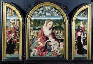 Virgin and Child and Music-Making Angels with devotional portraits of the Sampsons-Coolen family (opened state)
