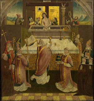 Mass of St Gregory with devotional portraits of a male and two female members of a convent