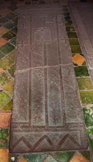 Sarcophagus lid of unknown person(s); floor slab of Matthias Eelbing