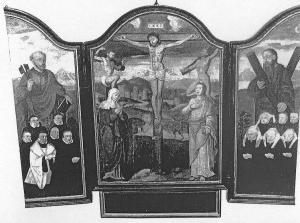 Crucifixion with devotional portraits of the Van Swolgen family (opened state)