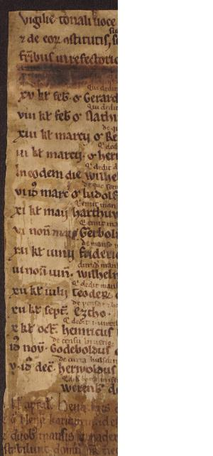 Fragment of the necrology of the Oostbroek abbey (Rijsenburg, no. 396)