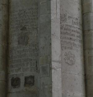 Memorial texts and heraldic shields of Adriaan Ram I and Adriaan Ram II