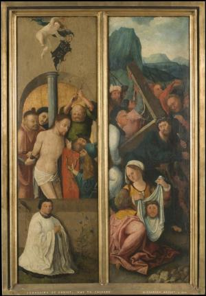 Christ carrying the Cross and the Flagellation of Christ with devotional portrait of a canon