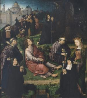Agony in the Garden with devotional portraits of a man and a woman
