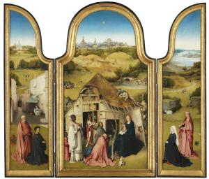 Adoration of the Magi with devotional portraits of Peeter Scheyfve and Agnes de Gramme (opened state)