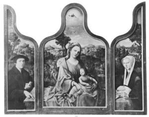 Rest on the Flight into Egypt with devotional portraits of a man and a woman (opened state)