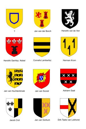 Heraldic Shields of the Twelve members of the Utrecht Confraternity of Jerusalem Pilgrims