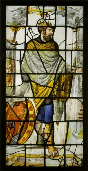 Stained-glass panel with King David and a text commemorating Johan tho Lellens and his wife Elly[...]