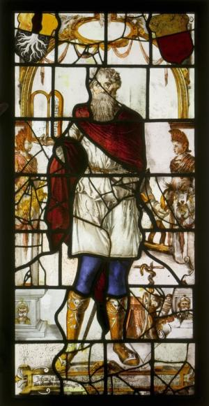 Stained-glass panel with Moses and a text commemorating Johan de Mepsche and his wife Agnes van Munster