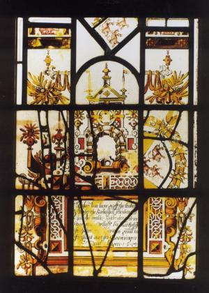 Stained-glass panel with Renaissance decorations and a text commemorating Jean de Ligne