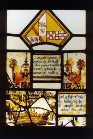 Stained-glass panel with Renaissance decorations and a text commemorating Marguerite de la Marck d'Arenberg and Charles d'Arenberg