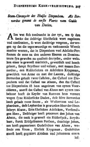 First page of the 1779 edition of the Diepenheim chronicle by W. Chevallereau (p. 107)