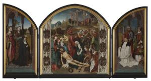 Lamentation over the Dead Christ with devotional portraits of Jacob Martensz. Schout and his mother(?) (opened state)
