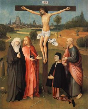 Memorial painting with the Crucifixion and the devotional portrait of a man