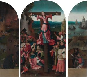 Crucifixion of Saint Wilgefortis and the overpainted devotional portraits of two men