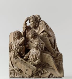 Fragment of a Nativity scene with Joseph and three angels
