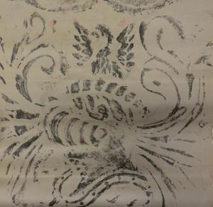 Rubbing of the helmet and crest on the floor slab of Bauwe Heemster; J. Belonje, 28 January 1944