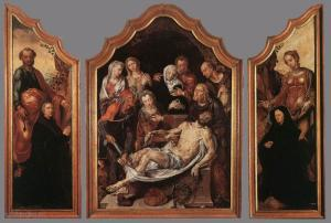 Entombment and the devotional portraits of a man and a woman